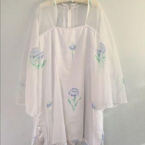 Vintage Floral Dress 70s xxl plus sized | wedding